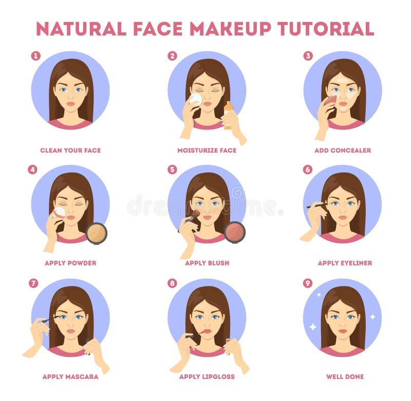 Het leerprogramma van de gezichtsmake-up voor vrouw Het toepassen van poeder stock illustratie