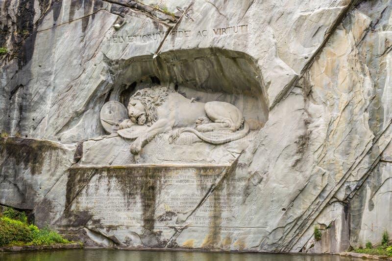 Het Leeuwmonument, of Leeuw van Luzerne in Luzerne, Zwitserland royalty-vrije stock foto