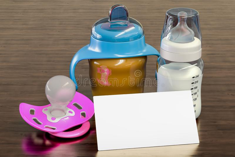 Het lege adreskaartje voor babysitter, het kindermeisje of de baby winkelen op de houten bureauachtergrond het 3d teruggeven vector illustratie