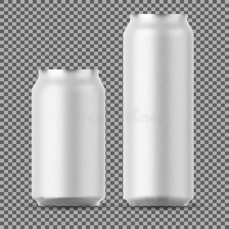 Het lege bier kan omhoog bespotten Klein en Groot Aluminium vector illustratie