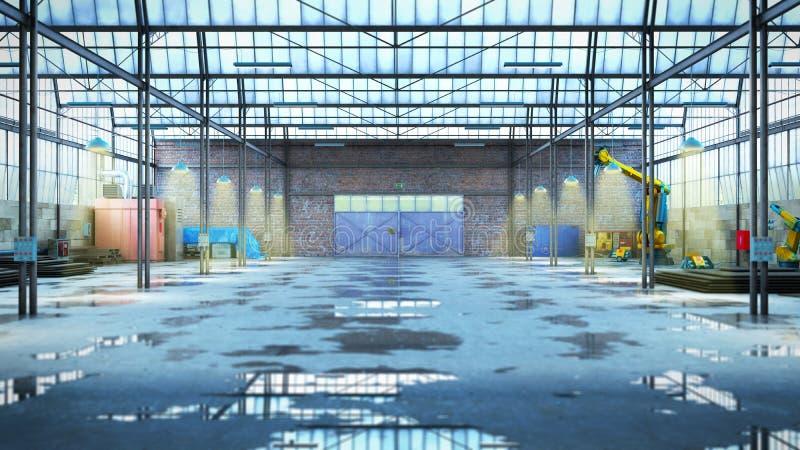 Het lege 3d Hangaar industriële pakhuis geeft beeld terug royalty-vrije illustratie