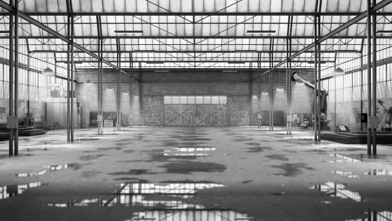 Het lege 3d Hangaar industriële pakhuis geeft beeld terug stock illustratie