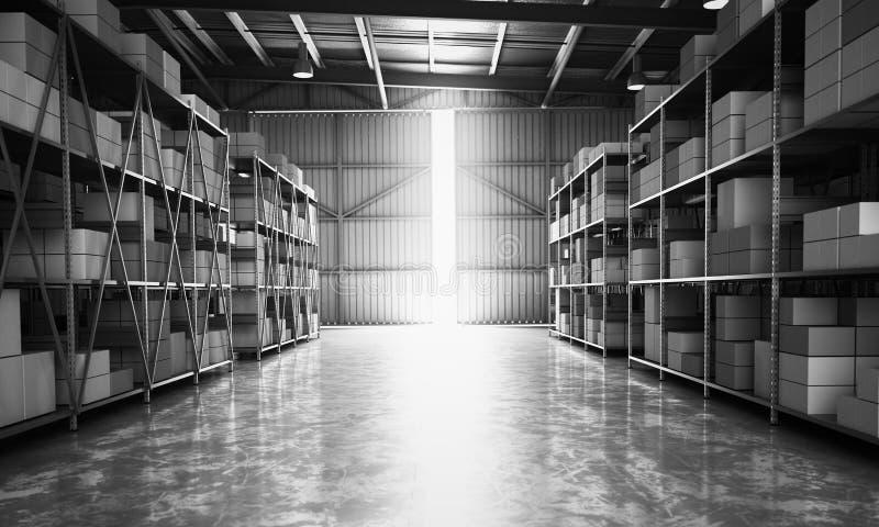 Het lege 3d pakhuis van de Hangaarlevering geeft beeld terug stock illustratie