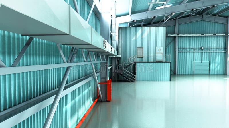 Het lege 3d pakhuis van de Hangaarlevering geeft illustratie terug royalty-vrije illustratie