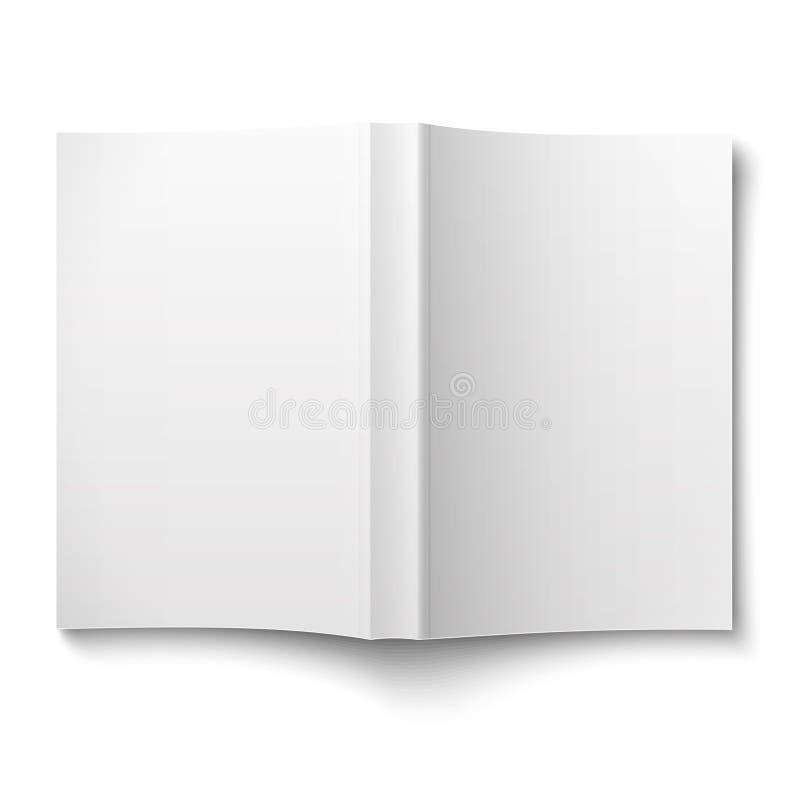 Het lege die malplaatje van het softcoverboek uit op wit wordt uitgespreid royalty-vrije illustratie