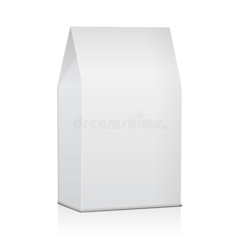 Het lege Document Pakket van de Voedselzak van Koffie, Zout, Suiker, Peper, Kruiden of Snacks Vectorspot op Malplaatje voor Produ royalty-vrije illustratie