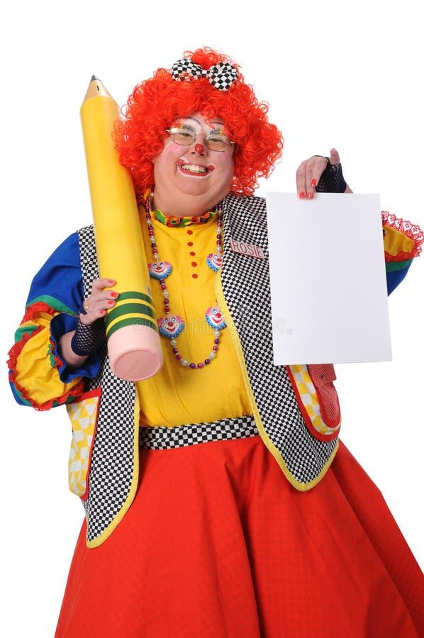 Het Lege Document van de Holding van de clown royalty-vrije stock fotografie