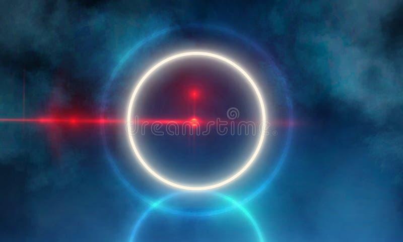Het lege Donkere Futuristische Sc.i-Grote Hall Room With Lights And Cirkel Gestalte gegeven Neonlicht van FI vector illustratie
