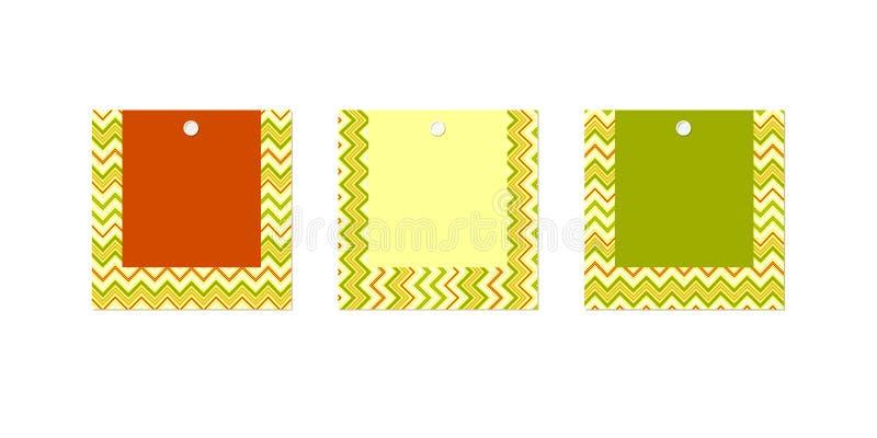Het lege etiket van de de Tekendriehoek groene rode gele banner van de prijskaartjelay-out van zigzaglijnen op een wit achtergron royalty-vrije illustratie