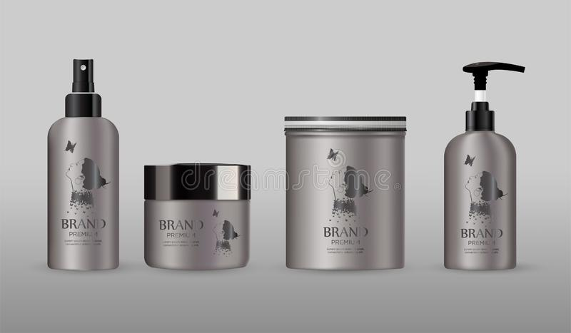 Het lege kosmetische model van het pakketmetaal op grijze reeks als achtergrond stock foto's