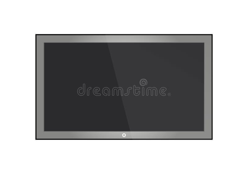 Het lege LCD scherm, plasmavertoningen of TV voor uw monitorontwerp computer of zwart die fotokader, op transparant wordt geïsole royalty-vrije illustratie