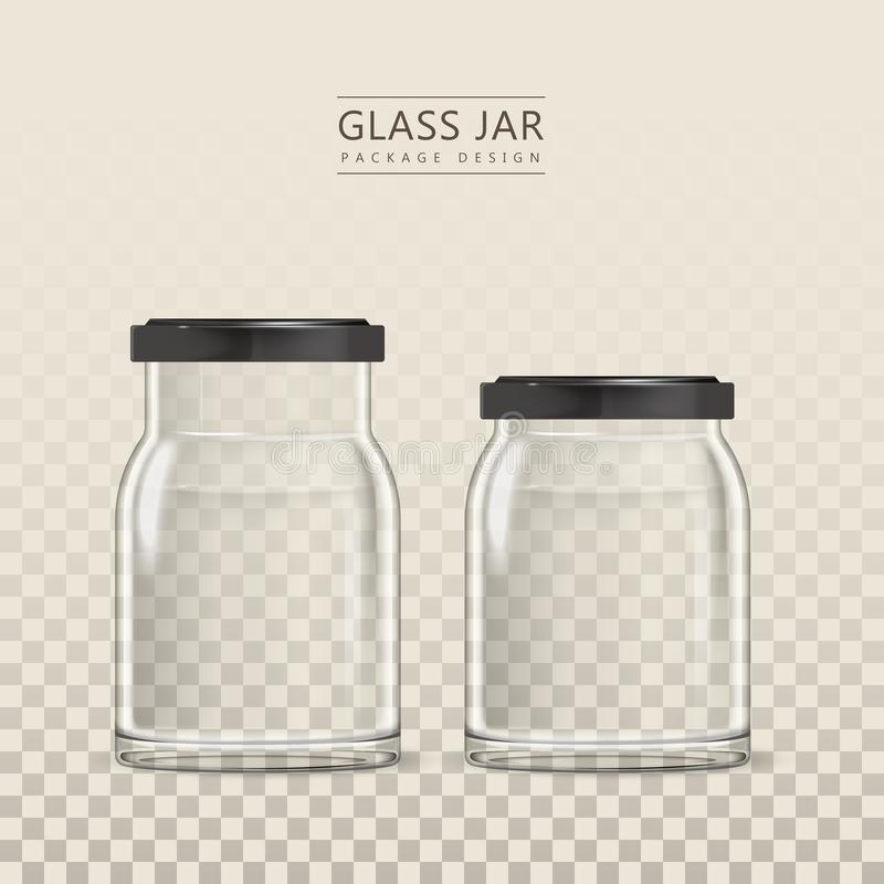 Het lege malplaatje van de glaskruik stock illustratie
