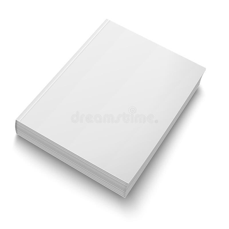 Het lege malplaatje van het softcoverboek op wit stock illustratie