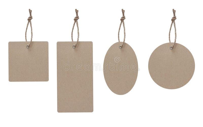 Het lege prijskaartje gemaakt frome tot ambachtdocument isoleert op wit met het knippen van weg royalty-vrije stock foto's