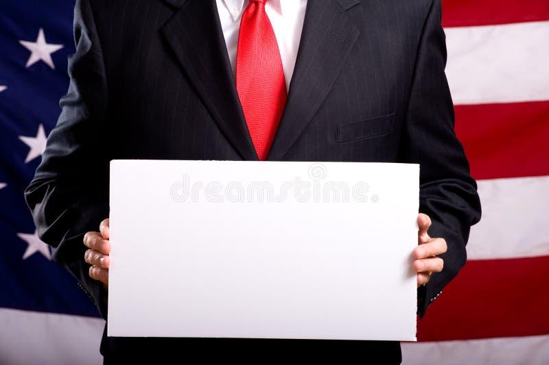 Het Lege Teken van de holding van de politicus royalty-vrije stock afbeeldingen