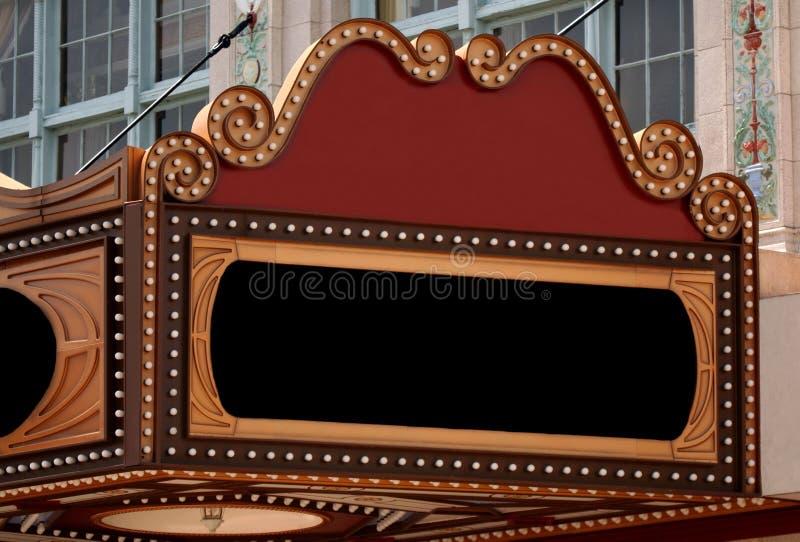 Het lege Teken van de Markttent van het Theater stock afbeeldingen