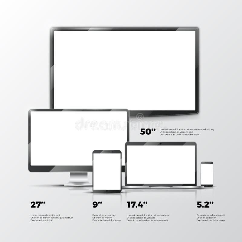 Het lege TV-scherm, lcd monitor, notitieboekje, tabletcomputer, smartphonemodellen die op witte achtergrond worden geïsoleerd royalty-vrije illustratie