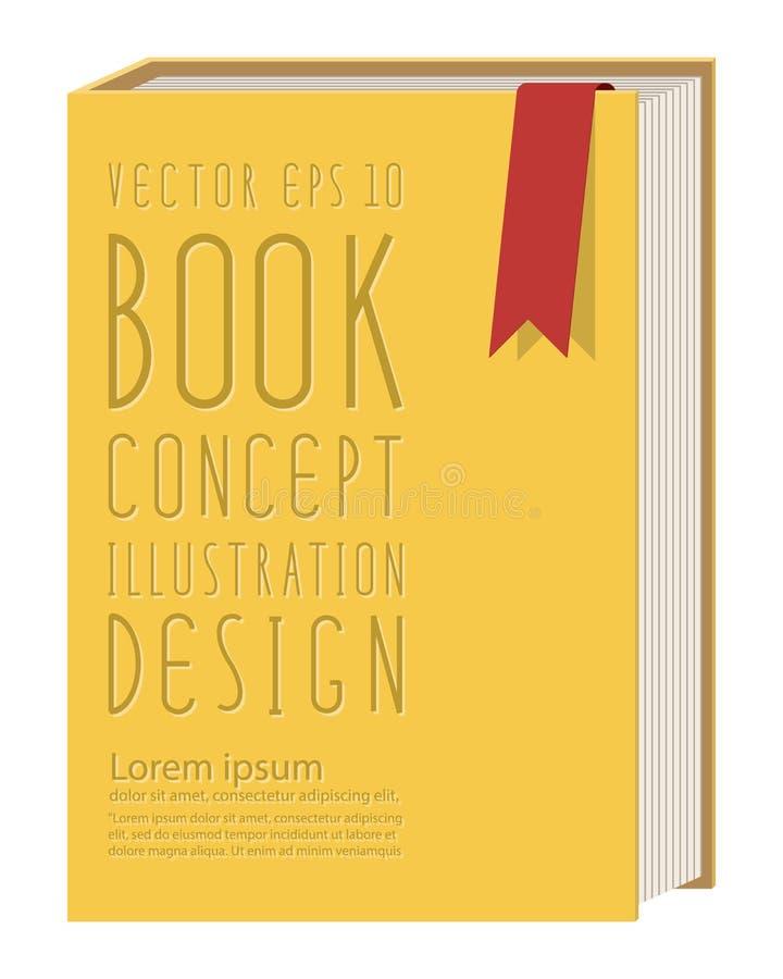 Het lege verticale malplaatje die van de boekdekking zich op geel oppervlaktefl bevinden vector illustratie