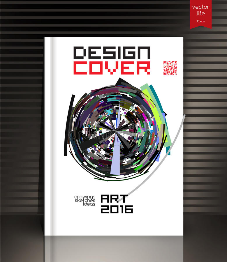Het lege verticale malplaatje van het hardcoverboek met rode referentie die zich op grijze oppervlakte bevinden vector illustratie