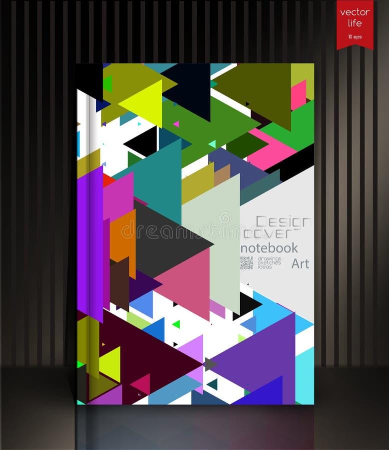 Het lege verticale malplaatje van het hardcoverboek met rode referentie die zich op grijze oppervlakte bevinden royalty-vrije illustratie