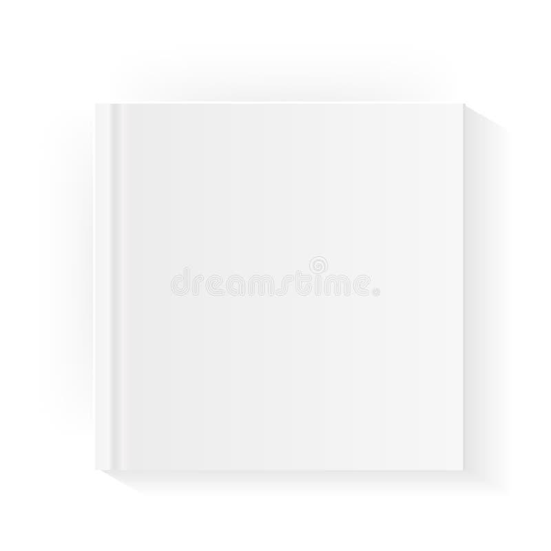 Het lege vierkante malplaatje van de boekdekking Onecht omhooggaand gesloten tijdschrift of notitieboekje Geïsoleerdj op witte ac royalty-vrije illustratie
