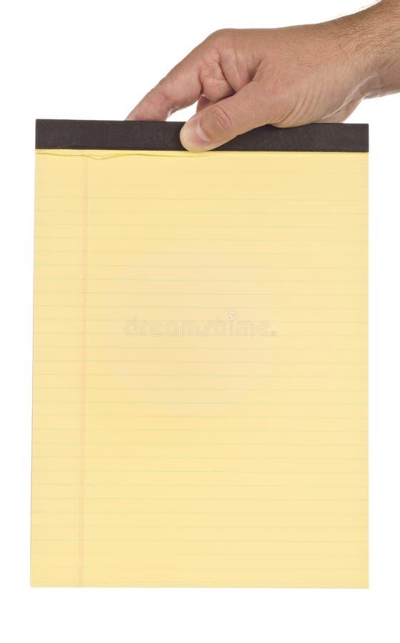 Download Het Lege Wettelijke Stootkussen Van De Handholding Stock Afbeelding - Afbeelding bestaande uit holding, geïsoleerd: 54082461
