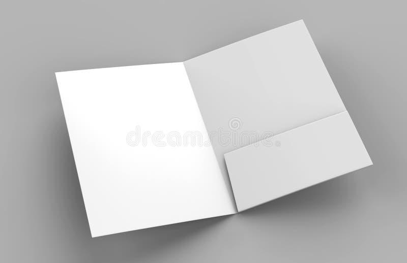 Het lege wit versterkte één zakomslagen omhoog op grijze achtergrond voor spot het 3d teruggeven vector illustratie