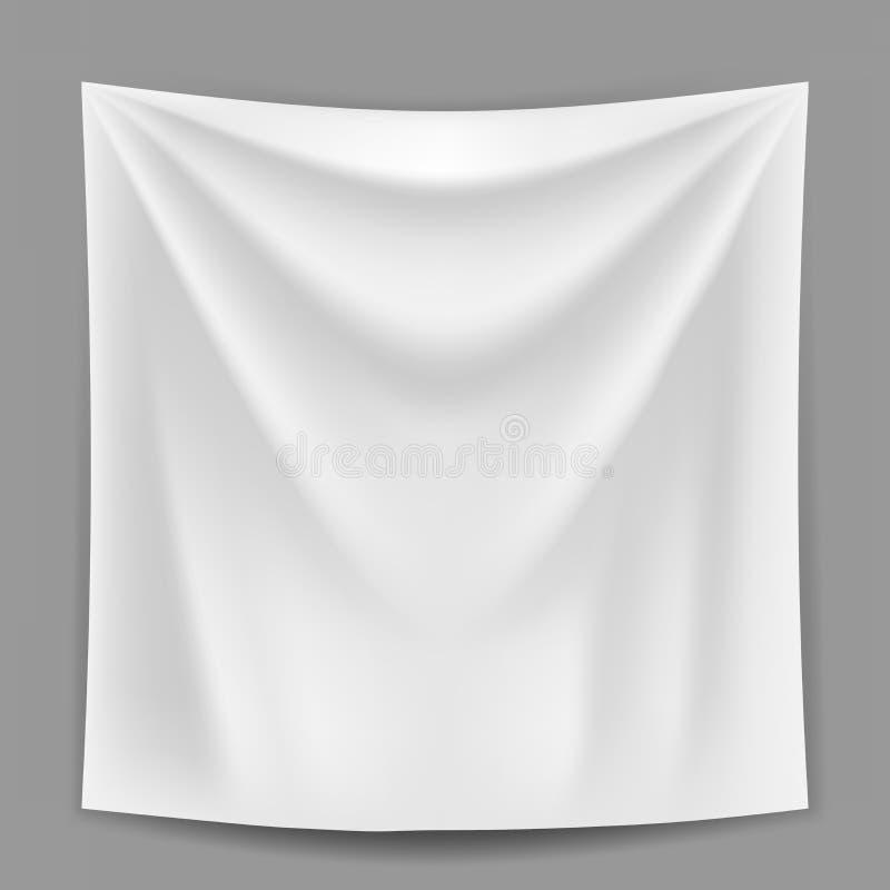 Het lege witte banner hangen op het grijze muurmalplaatje stock illustratie
