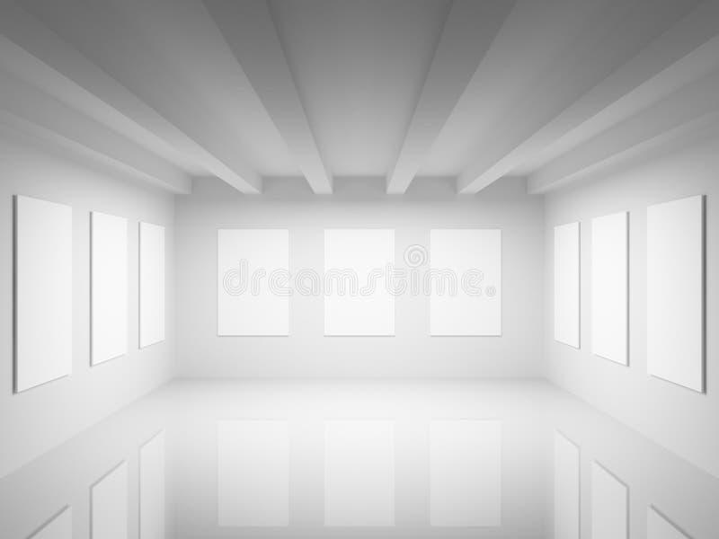 Het lege witte binnenland van de kunstgaleriezaal stock illustratie