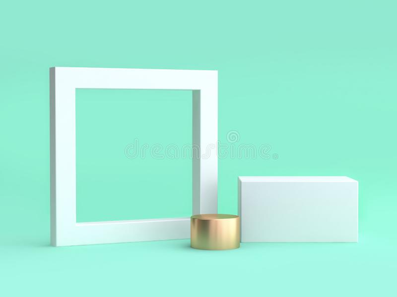 Het lege witte 3d kader en de vierkante minimale groene achtergrond geven terug vector illustratie