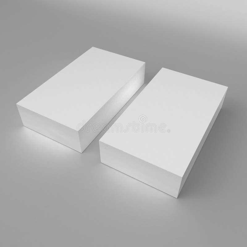 Het lege witte 3d 3d visitekaartjemalplaatje geeft illustratie omhoog voor spot en ontwerppresentatie terug royalty-vrije illustratie