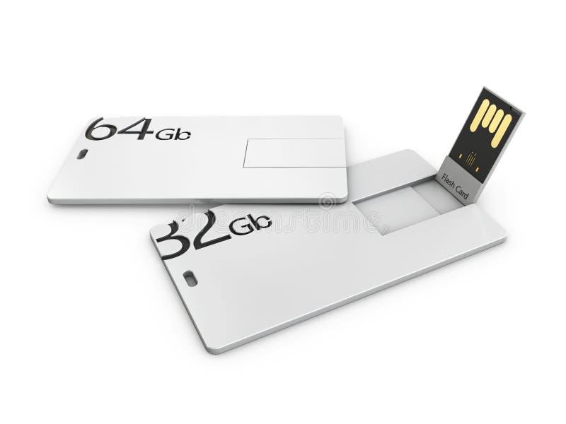 Het lege witte plastic model van de usbkaart, 3d Illustratie Het bezoeken de spot van de flitsaandrijving namecard omhoog stock illustratie