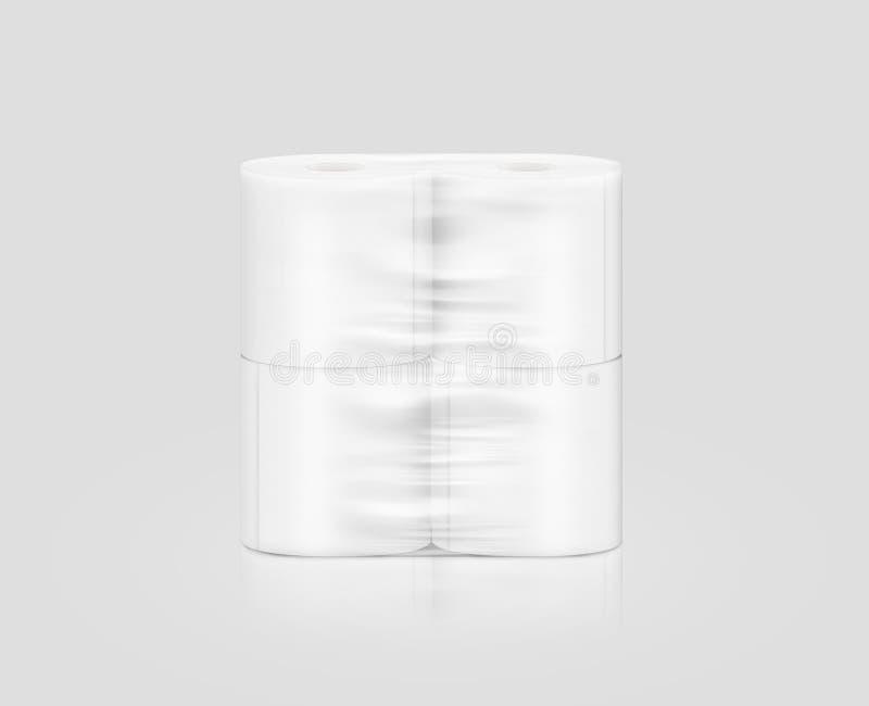 Het lege witte verpakkende model van het toiletpapierbroodje, het knippen weg, 3d illustratie stock foto