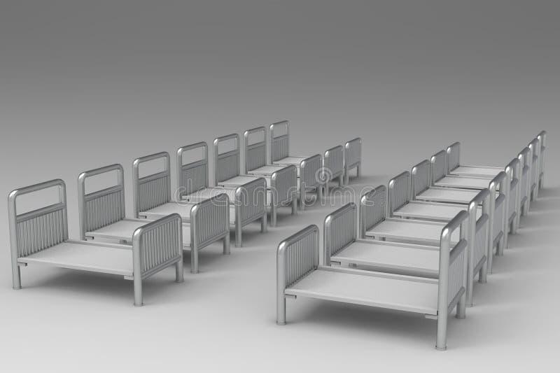 Het lege het ziekenhuisbed 3D teruggeven vector illustratie