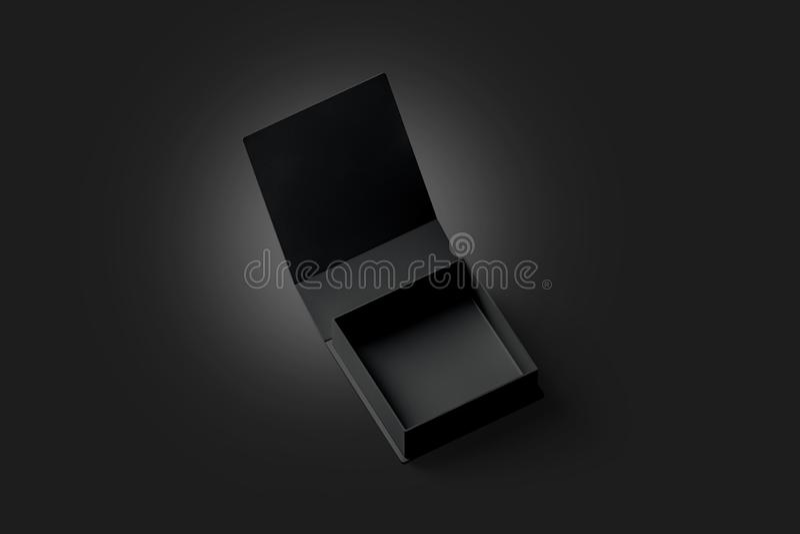 Het lege zwarte geopende die model van de giftdoos, in duisternis wordt geïsoleerd stock illustratie