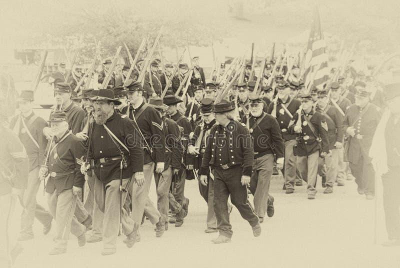 Het leger dat van de Unie aan slag marcheert royalty-vrije stock fotografie