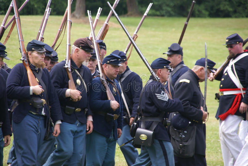 Het leger dat van de Unie aan slag marcheert royalty-vrije stock afbeeldingen