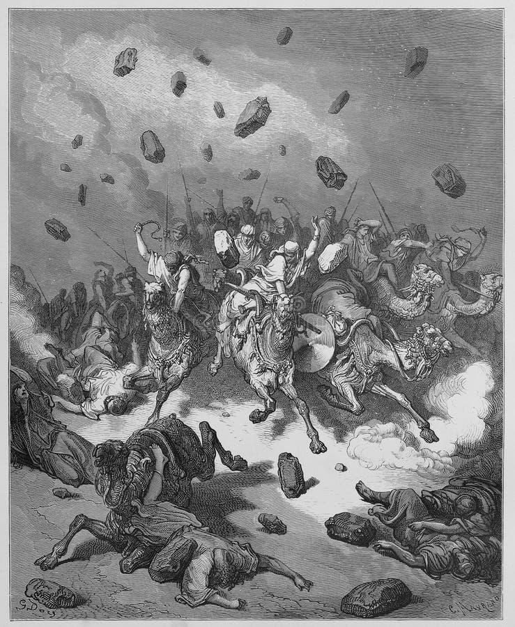 Het leger van Amorites wordt vernietigd royalty-vrije illustratie