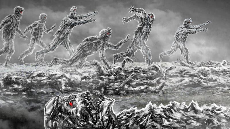 Het leger van de aanvalszombie op slagveld royalty-vrije illustratie