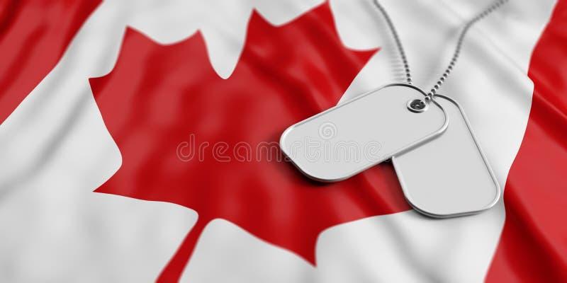 Het legerconcept van Canada, Identificatieplaatjes op de vlagachtergrond van Canada 3D Illustratie vector illustratie
