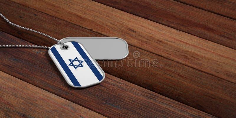 Het legerconcept van Israël, de vlagidentificatieplaatjes van Israël op houten achtergrond 3D Illustratie stock illustratie