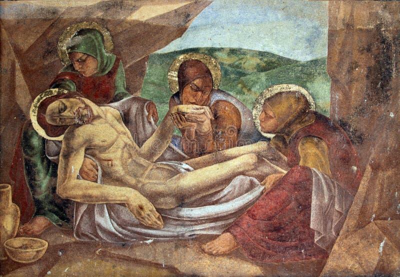 Het leggen van Christus in Graf royalty-vrije stock foto