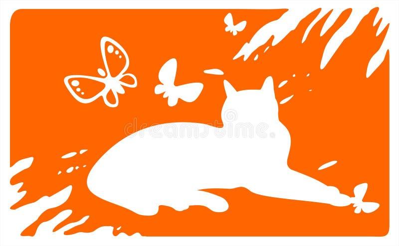 Het leggen van kat en vlinders royalty-vrije illustratie