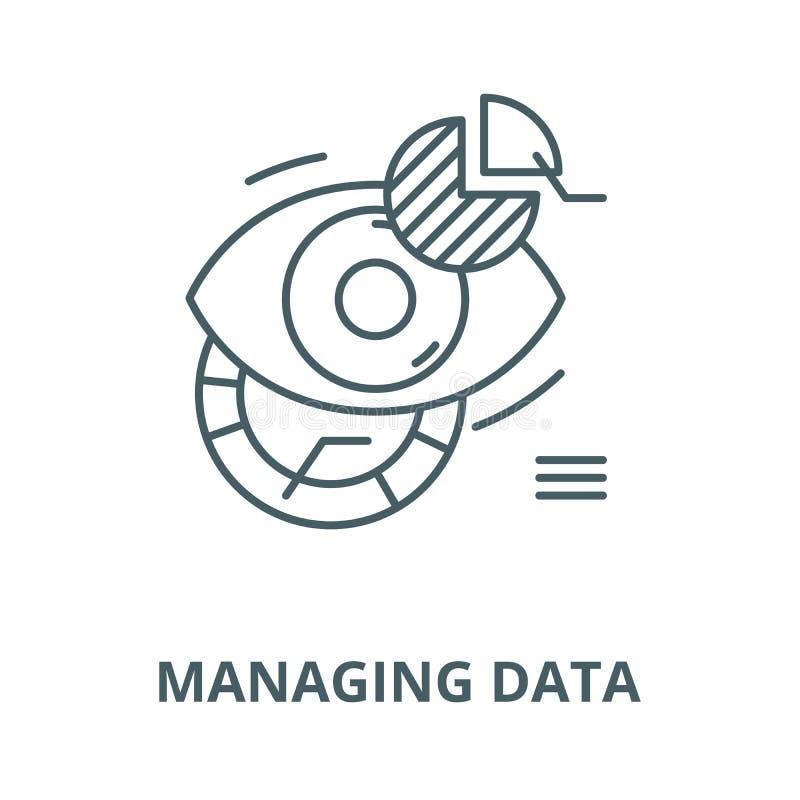 Het leiden van pictogram van de gegevens het vectorlijn, lineair concept, overzichtsteken, symbool stock illustratie