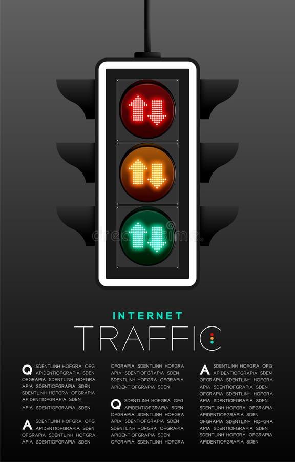 Het LEIDENE Verkeerslicht met pijlteken, de affiche van het de digitale gegevensconcept van Internet of de lay-out van het vliege royalty-vrije illustratie