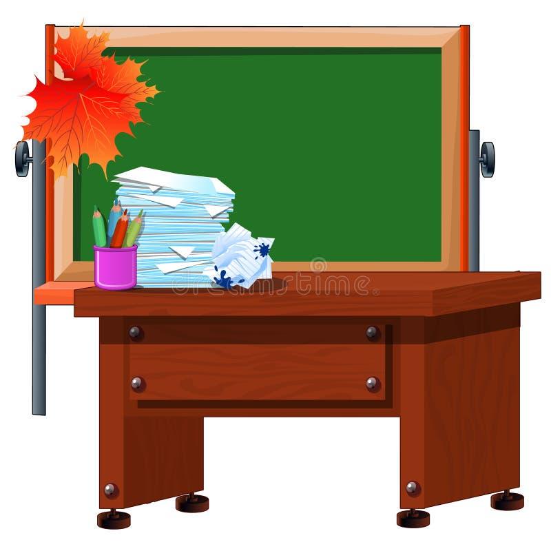 Het het lerarenbureau en bord met ruimte voor uw tekst Vakantie de dag van kennis Vectorbeeldverhaalclose-up royalty-vrije illustratie