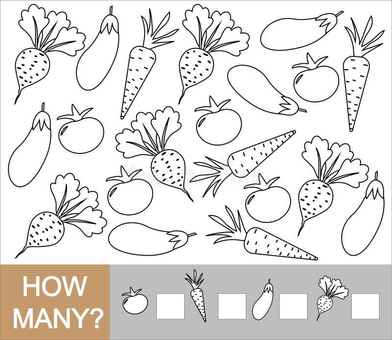 Het leren aantallen, wiskunde, tellend spel voor kinderen Hoeveel groententomaat, biet, aubergine, wortel vector illustratie