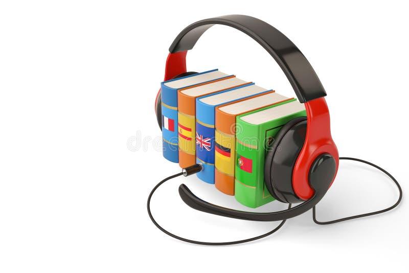 Het leren het conceptenboeken en hoofdtelefoon van talen online audiobooks vector illustratie