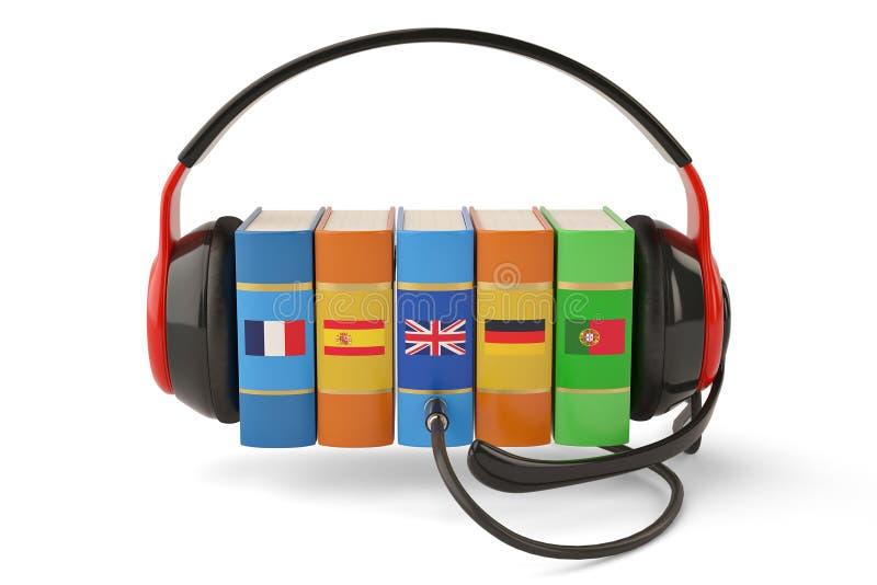 Het leren het conceptenboeken en hoofdtelefoon van talen online audiobooks stock illustratie