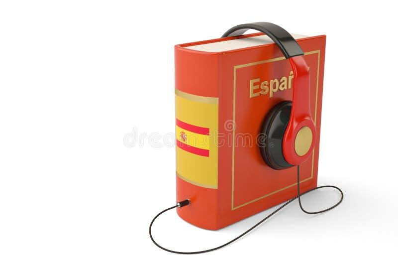 Het leren het conceptenboeken en hoofdtelefoon van talen online audiobooks royalty-vrije illustratie